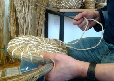 The first stage of making a bee skep in a workshop at West Moss-side