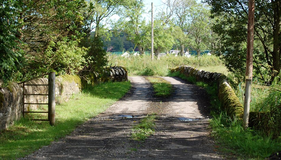 The old stone bridge over the Goodie Water heading towards West Moss-side Farm