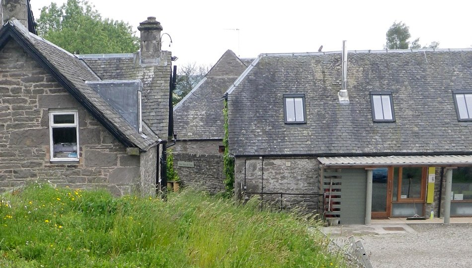 The West Moss-side Farm buildings viewed from the green roof