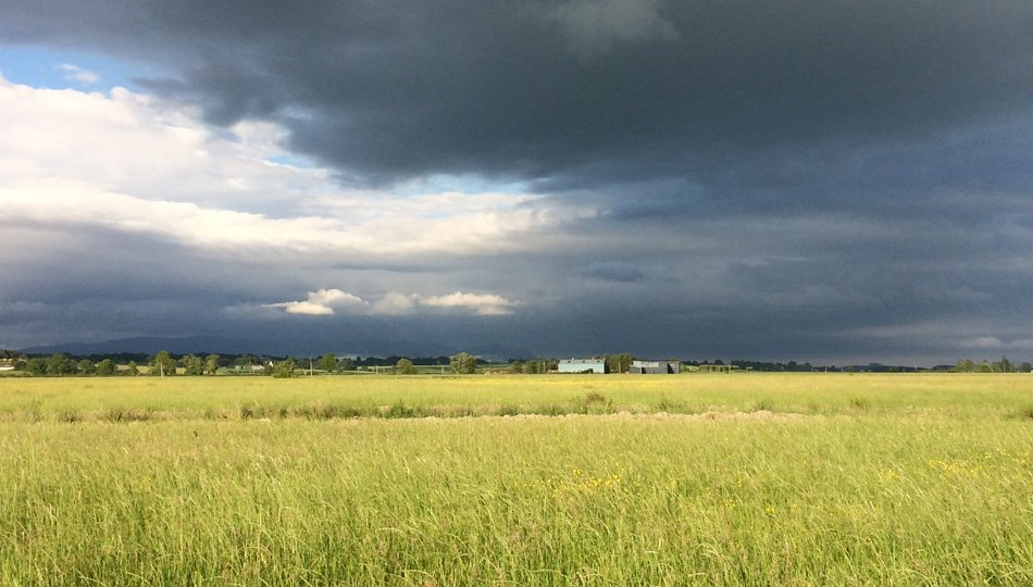 Storm clouds over the West Moss-side hayfields