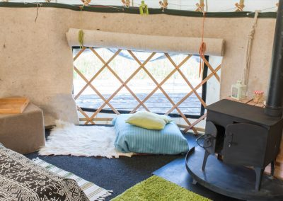Ben Ledi yurt interior: a place to look out of the window