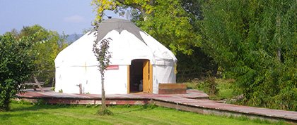 Trossachs Yurts are set in the beautiful farm landscape at West Moss-side Organic Farm